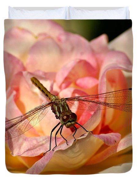 Dragonfly On A Rose Duvet Cover