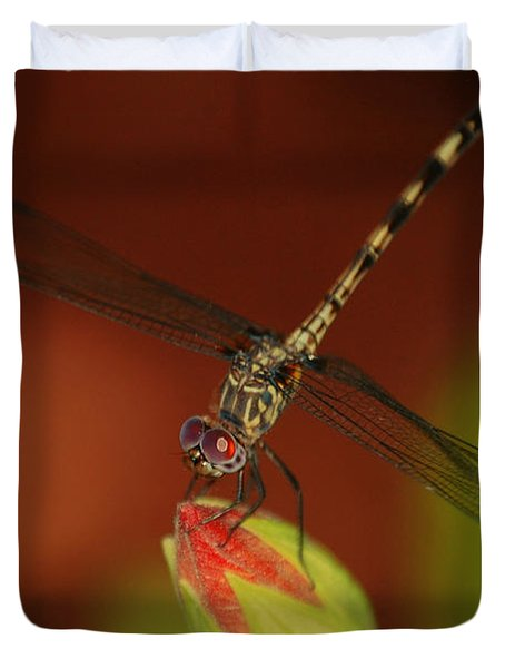 Duvet Cover featuring the photograph Dragonfly On Hibiscus by Leticia Latocki