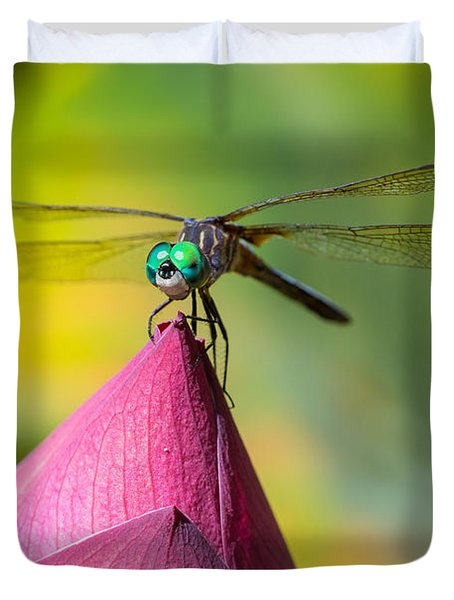 Dragonfly On Waterlily Duvet Cover