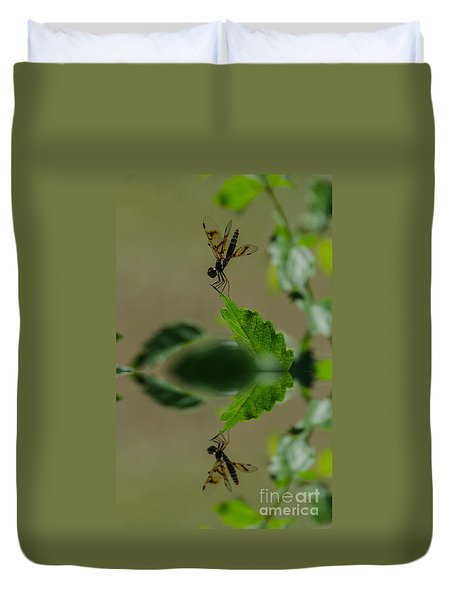 Duvet Cover featuring the photograph Dragonfly Reflection by Donna Brown