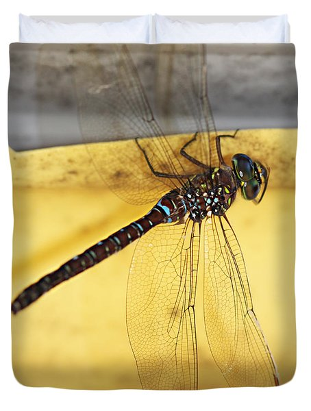 Duvet Cover featuring the photograph Dragonfly Web by Melanie Lankford Photography