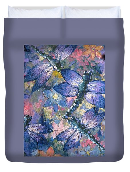 Duvet Cover featuring the painting Dragons  by Megan Walsh