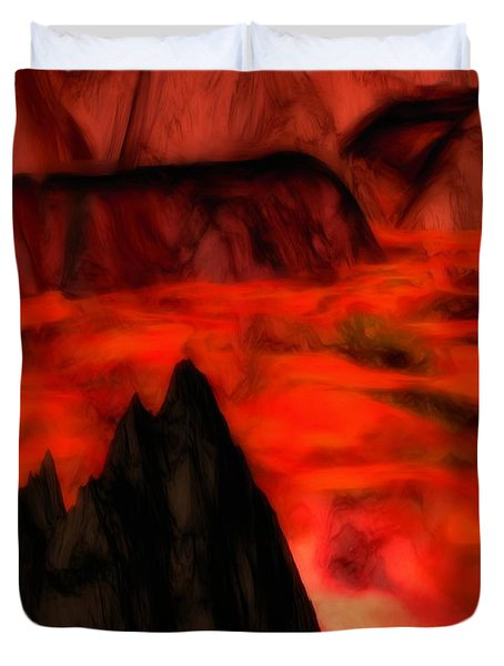 Duvet Cover featuring the painting Dragontooth Pass by Pet Serrano