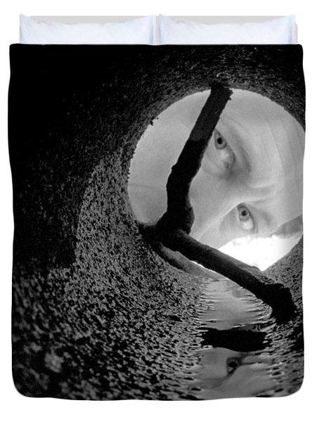 Drain Pipe - Artist Self Portrait Duvet Cover by Gary Heller
