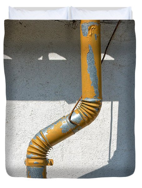 Drainpipe White Structured Wall  Duvet Cover