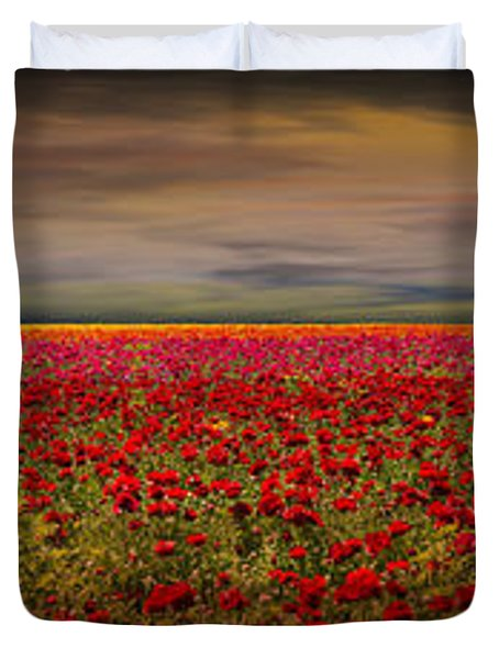 Drama Over The Flower Fields Duvet Cover by Angela A Stanton