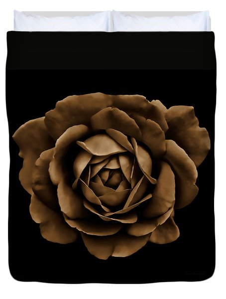 Dramatic Brown Rose Portrait Duvet Cover