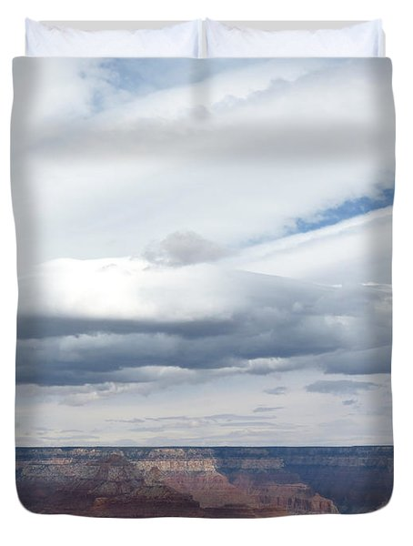 Dramatic Clouds Over The Grand Canyon Duvet Cover by Laurel Powell