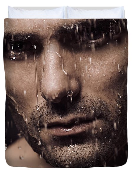Dramatic Portrait Of Man Face With Water Pouring Over It Duvet Cover by Oleksiy Maksymenko