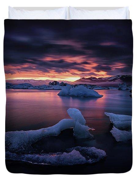 Dramatic Sunset Over Glacier Bay Duvet Cover