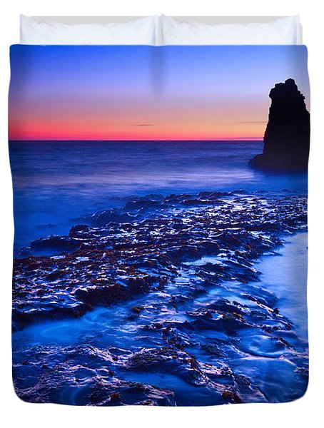 Dramatic Sunset View Of A Sea Stack In Davenport Beach Santa Cruz. Duvet Cover by Jamie Pham