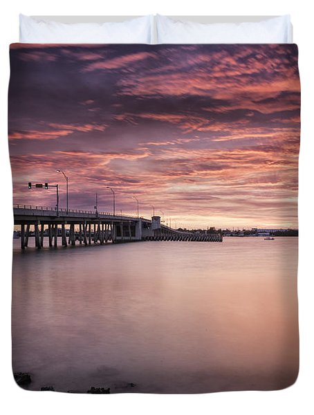 Drawbridge At Dusk Duvet Cover by Fran Gallogly