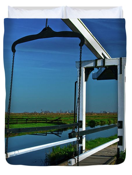 Duvet Cover featuring the photograph Drawbridge At Zaanse Schans by Jonah  Anderson
