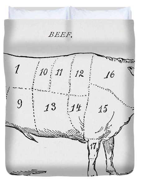 Drawing Of A Bullock Marked To Show Eighteen Different Cuts Of Meat Duvet Cover