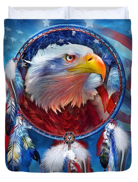 Duvet Cover featuring the mixed media Dream Catcher - Eagle Red White Blue by Carol Cavalaris