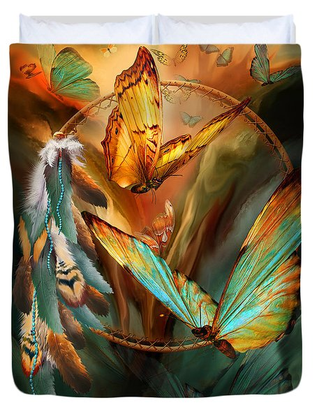 Dream Catcher - Spirit Of The Butterfly Duvet Cover by Carol Cavalaris