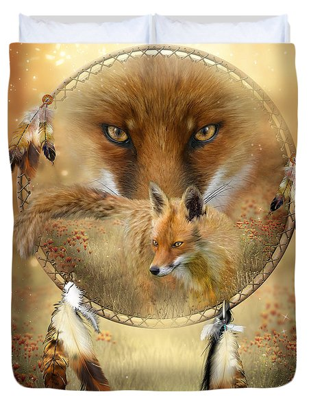 Dream Catcher- Spirit Of The Red Fox Duvet Cover