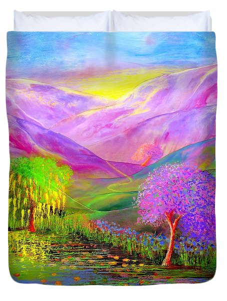 Duvet Cover featuring the painting Dream Lake by Jane Small