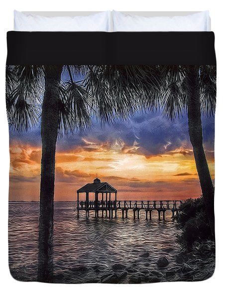 Duvet Cover featuring the photograph Dream Pier by Hanny Heim