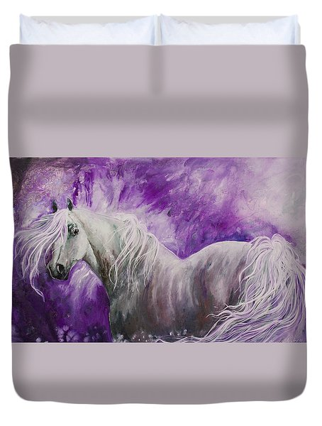 Duvet Cover featuring the painting Dream Stallion by Sherry Shipley