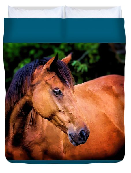 Dream Stallion Horse Portrait Duvet Cover by Wallaroo Images