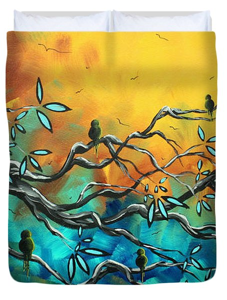 Dream Watchers Original Abstract Bird Painting Duvet Cover by Megan Duncanson