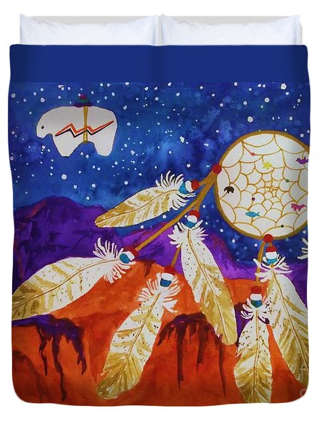 Dreamcatcher Over The Mesas Duvet Cover