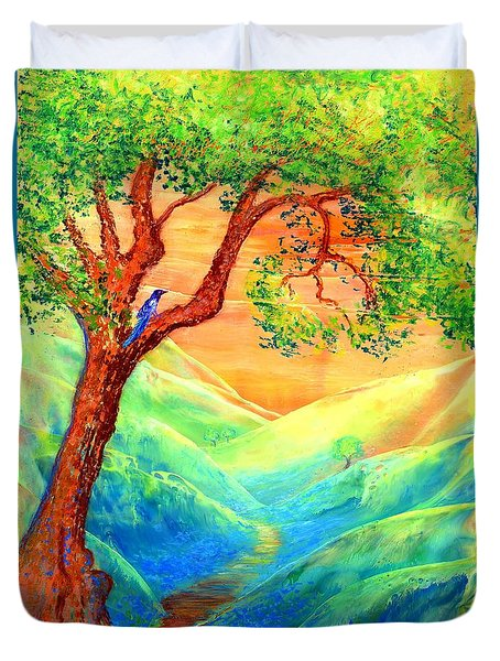 Duvet Cover featuring the painting Dreaming Of Bluebells by Jane Small