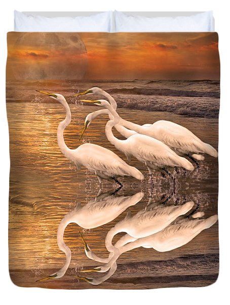 Dreaming Of Egrets By The Sea Reflection Duvet Cover