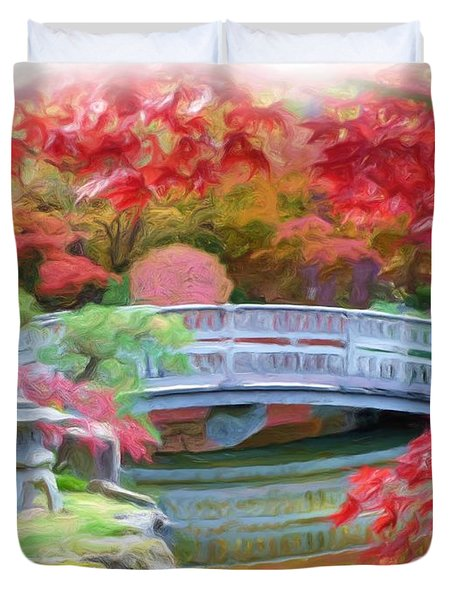 Dreaming Of Fall Bridge In Manito Park Duvet Cover by Carol Groenen