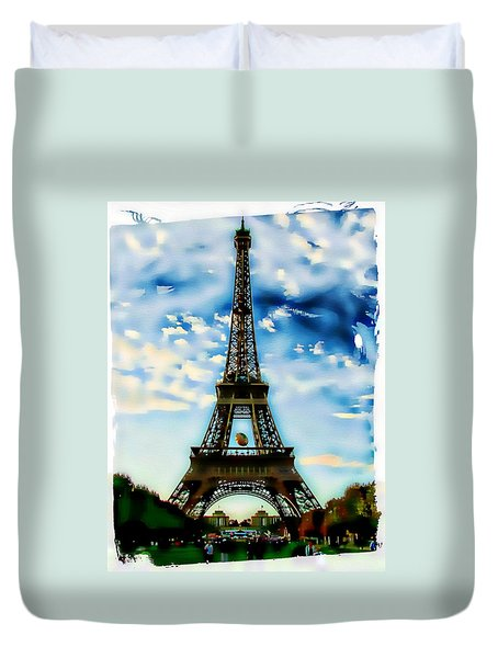 Duvet Cover featuring the photograph Dreamy Eiffel Tower by Kathy Churchman