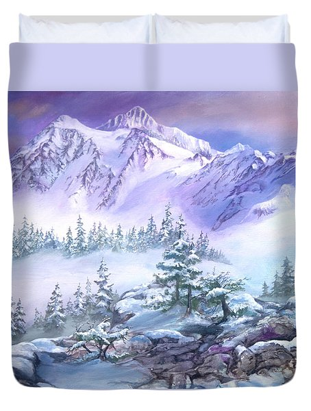 Duvet Cover featuring the painting Dressed In White Mount Shuksan by Sherry Shipley