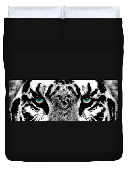 Dressed To Kill - White Tiger Art By Sharon Cummings Duvet Cover by Sharon Cummings