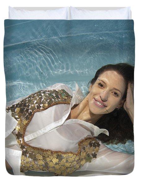 Dressed Woman Underwater  Duvet Cover