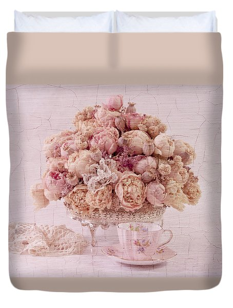 Duvet Cover featuring the photograph Dried Peony Still Life by Sandra Foster