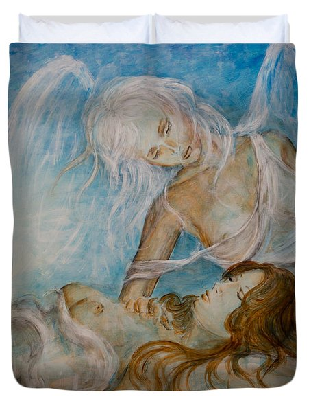 Duvet Cover featuring the painting Drifting 01 by Nik Helbig
