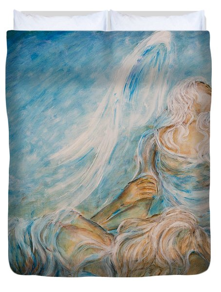 Duvet Cover featuring the painting Drifting 02 by Nik Helbig