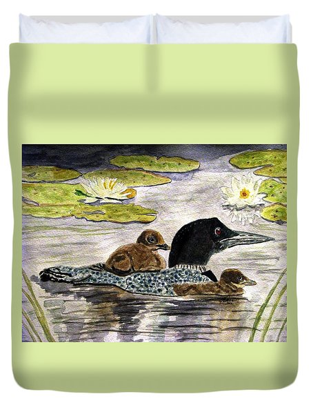 Duvet Cover featuring the painting Drifting Among The Waterlilies by Angela Davies