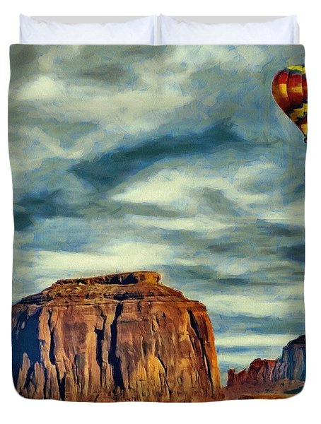 Duvet Cover featuring the painting Drifting Over Monument Valley by Jeff Kolker