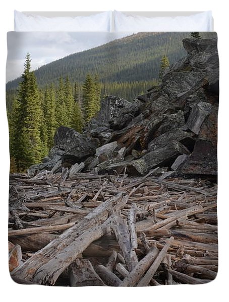 Driftwood And Rock Duvet Cover by Cheryl Miller