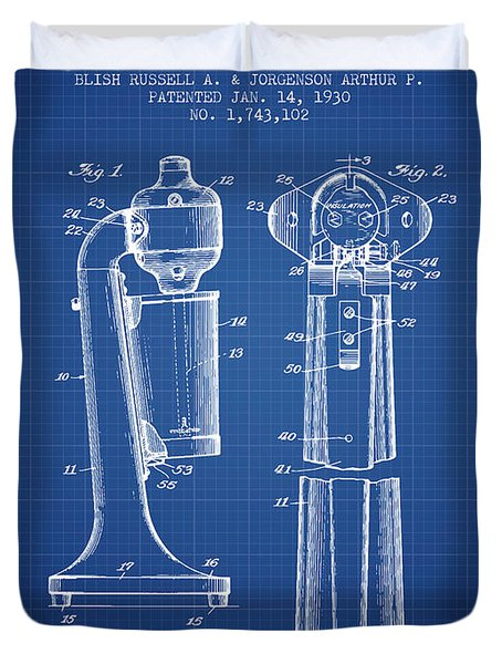 Drink Mixer Patent From 1930 - Blueprint Duvet Cover