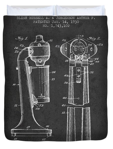Drink Mixer Patent From 1930 - Dark Duvet Cover