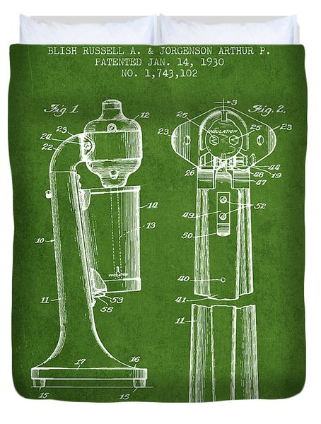 Drink Mixer Patent From 1930 - Green Duvet Cover
