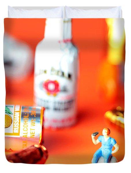 Drinking Among Liquor Filled Chocolate Bottles Duvet Cover by Paul Ge