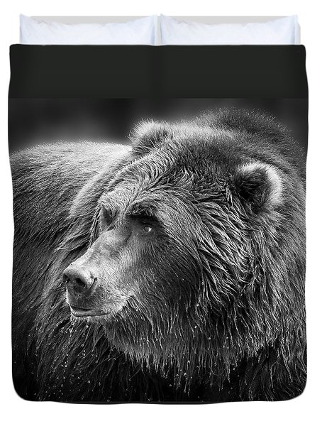 Drinking Grizzly Bear Black And White Duvet Cover by Steve McKinzie