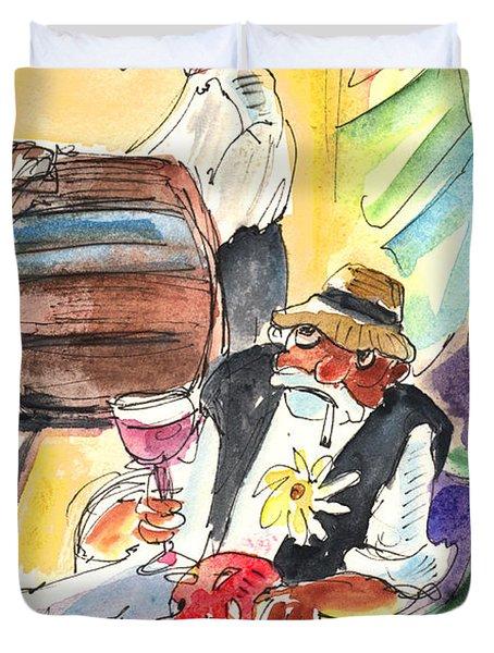 Drinking Wine In Lanzarote Duvet Cover by Miki De Goodaboom