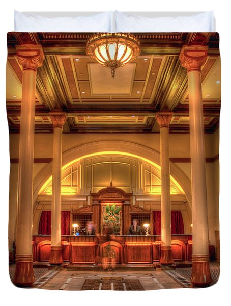 Duvet Cover featuring the photograph Driskill Hotel Check-in by Tim Stanley