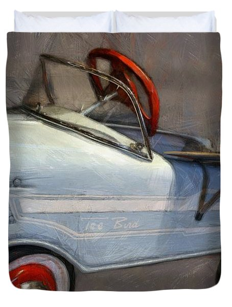 Drive In Pedal Car Duvet Cover by Michelle Calkins