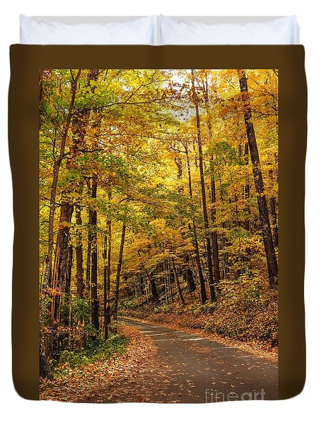 Duvet Cover featuring the photograph Driving Fall Mountain Roads. by Debbie Green