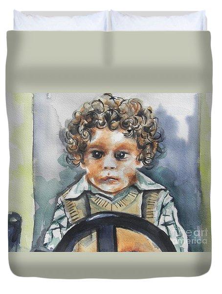 Driving The Taxi Duvet Cover by Chrisann Ellis